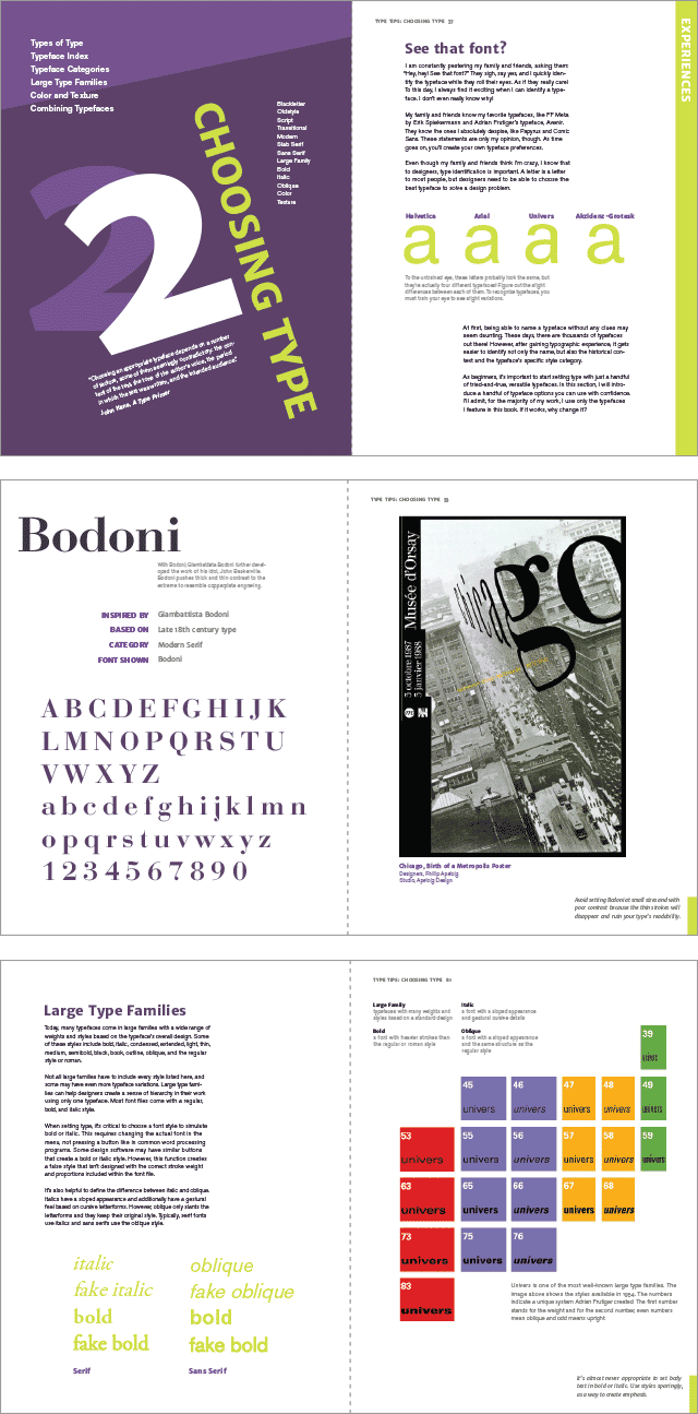 Spreads from the choosing type section of Type Tips