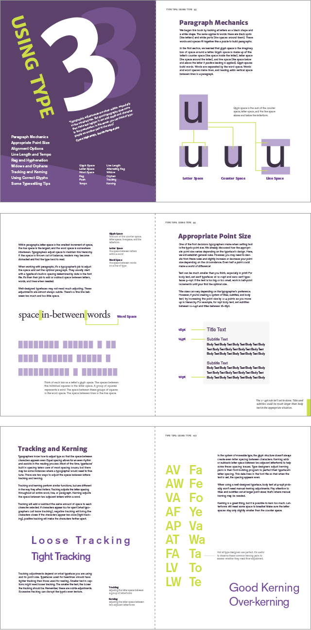 Spreads from the using type section of type tips