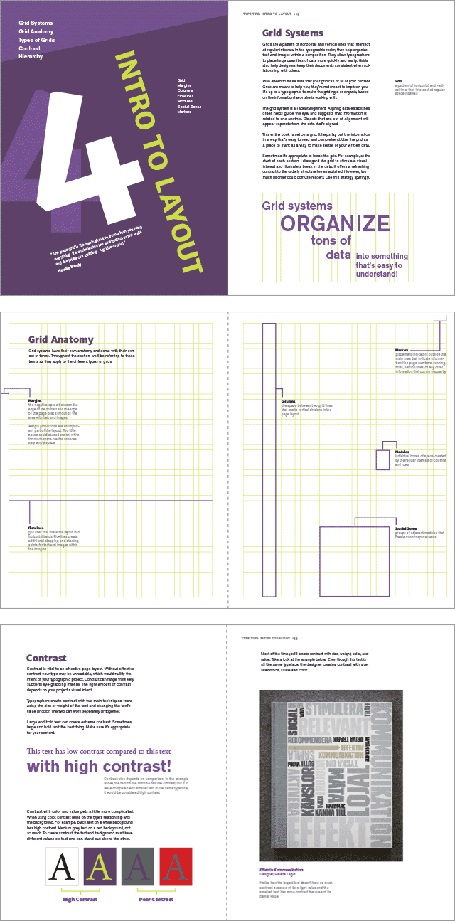 Spreads from the layout section of type tips