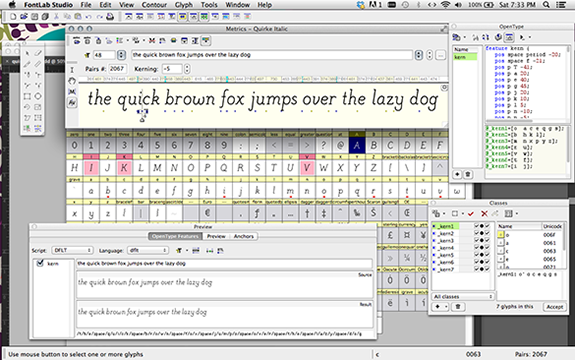 Working in fontlab to make the letterforms into a font