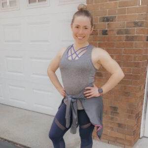 Ashleigh in fitness gear